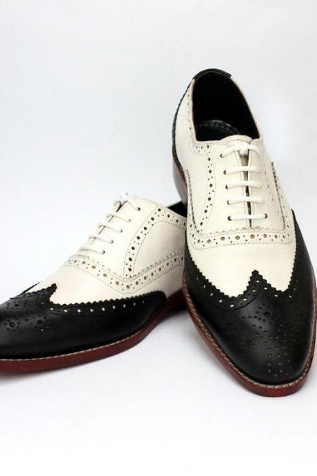 Handmade Men's Wingtip Oxford Leather Brogue Toe Natural Color Sole Black White Contrast Laceup Shoes