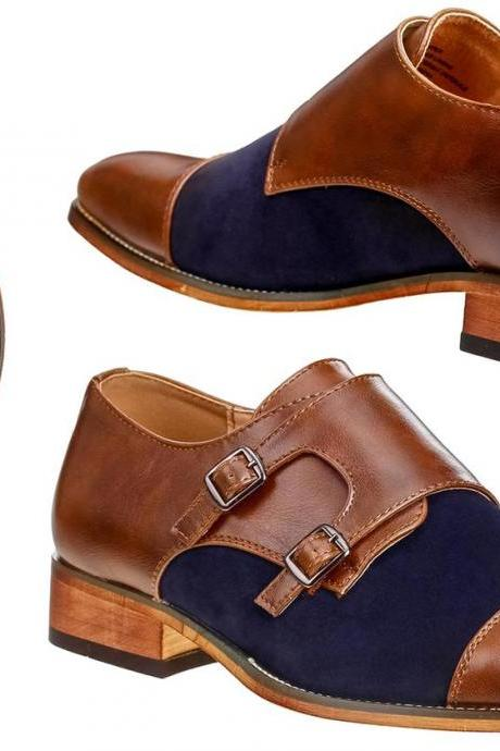 Handmade Men's Brown Tan Monk Double Buckle Strap Navy Blue Genuine Suede Leather Shoes