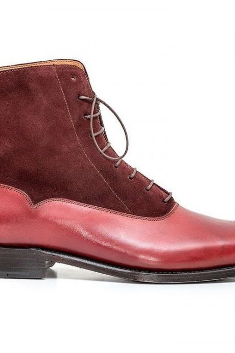 Customized Handcrafted Men's Maroon Red Plain Brogue Toe High Ankle Genuine Suede Leather Lace up Boots