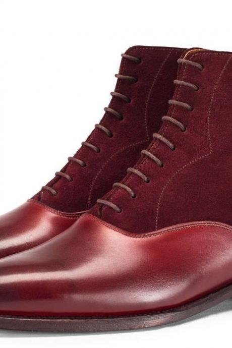 Made To Order Men's Maroon Red Plain Burnished Toe High Ankle Suede Leather Lace up Boots