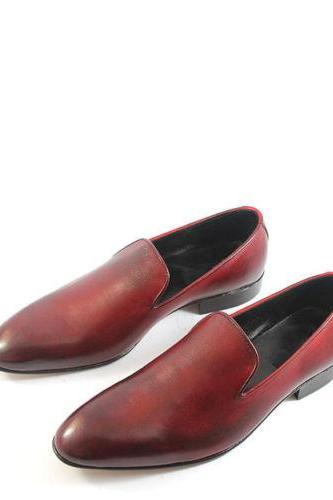 Men's Plain Burnished Maroon Red Color Casual Loafer Leather Shoes