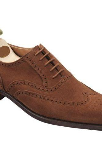 Handmade Men's Brogue Toe Brown Genuine Suede Leather Lace up Shoes