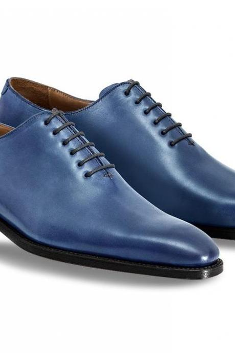 Customized Handcrafted Men's Blue Color Oxford Black Sole Genuine Leather Lace up Shoes