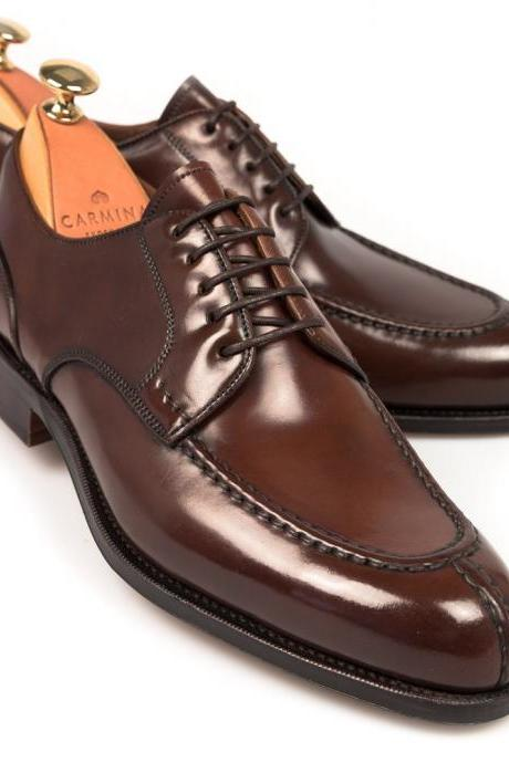Handmade Men's Shiny Brown Color Patent Oxford Formal Genuine Leather Lace up Shoes