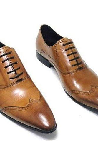 Handmade Men's Tan Brown Derby Burnished Toe Black Sole Leather Lace up Shoes