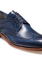 Customized Handmade Men's Oxford Blue Brogue Toe Wingtip Natural Color Sole Leather Lace up Shoes
