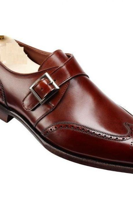 Handcrafted Men's Brown Color Oxford Monk Single Buckle Strap Brogue Toe Leather Shoes