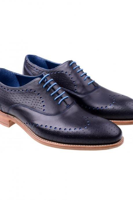 Hand Stitched Men's Navy Blue Oxford Brogue Toe Punch Hole Natural Color Sole Leather Lace up Shoes