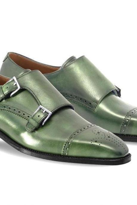 Made To Order Men's Green Monk Brogue Toe Double Buckle Strap Black Sole Leather Shoes
