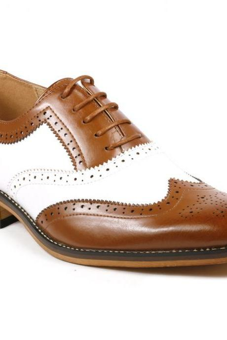 Handcrafted Men's Oxford Brogue Toe Wingtip Brown White Color Vintage Leather Lace up Shoes