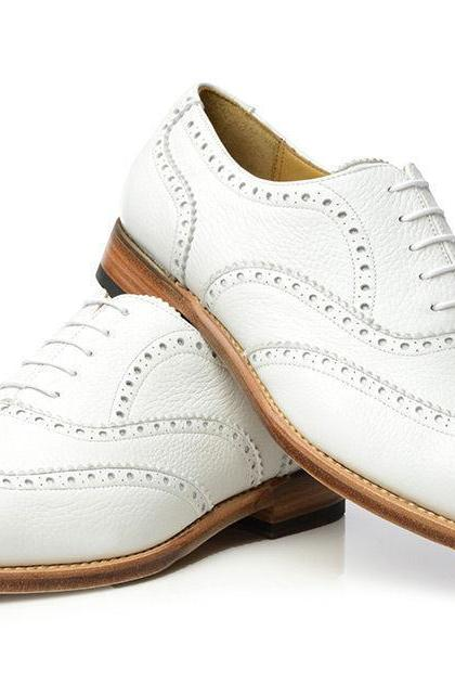 Hand Stitched Men's New White Wingtip Oxford Premium Leather Natural Color Sole Formal Dress Shoes