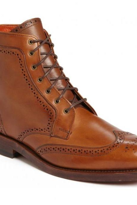 Men's Brown Brogue Toe Wingtip High Ankle Vintage Leather Lace up Boots