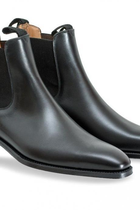 Customized Handmade Men's Black Chelsea Jumper Slip On Genuine Leather Boots