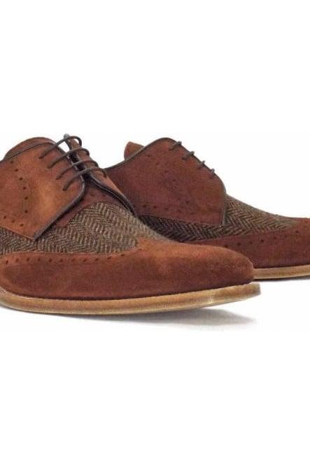 Customized Handcrafted Men's Brown Tweed Genuine Suede Leather Lace up Shoes