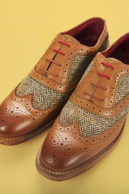 Made To Order Men's Oxford Wingtip Brown Brogue Toe Tan Tweed Genuine Leather Lace up Shoes