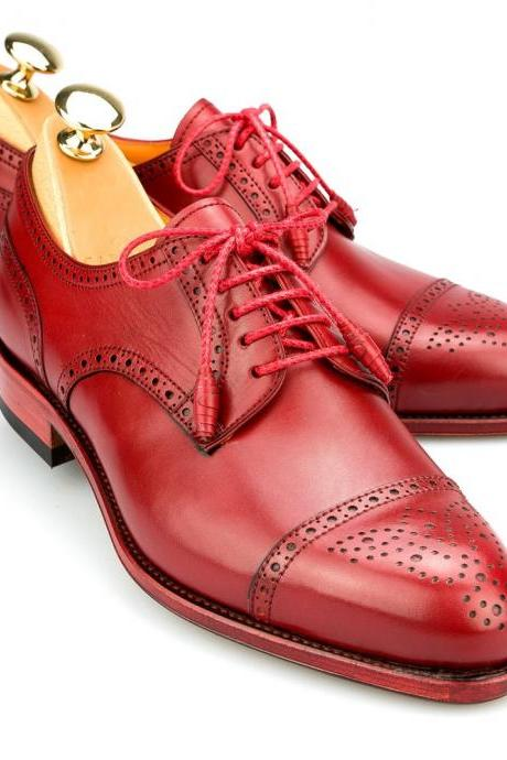 Handcrafted Men's Red Derby Full Brogue Cap Toe Leather Lace up Shoes