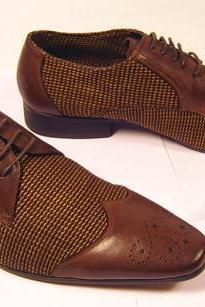 Men's New Retro Tweed Brogue Toe Derby Brown Color Genuine Leather Lace up Shoes