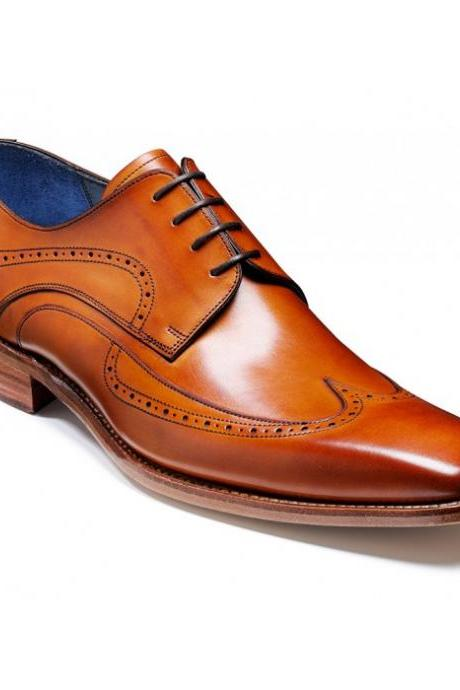 Handmade Men's Tan Brown Color Oxford Plain Toe Real Leather Lace up Shoes