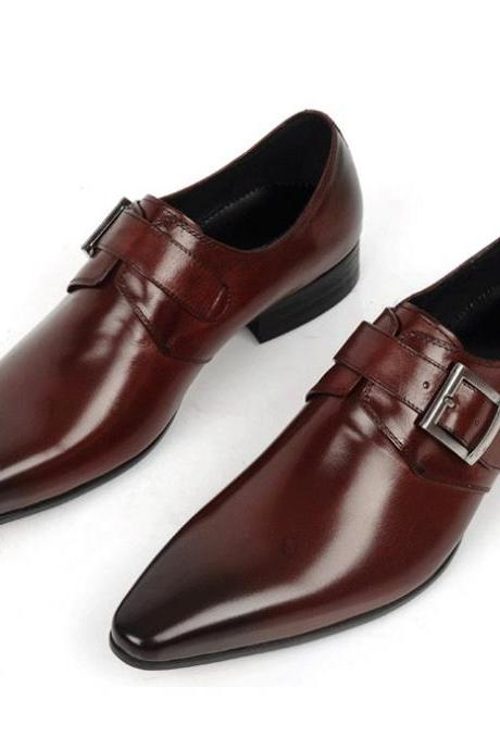 Two Tone Men Black & Brown Pointed Toe Buckle Strap Monk Genuine Leather Shoes