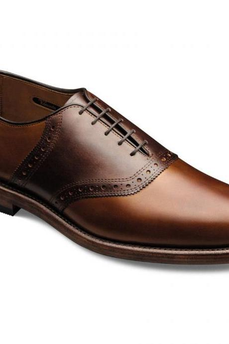 Burnished Men Brown & Dark Brown Laceup With Brogues Oxford Elegant Leather Shoe