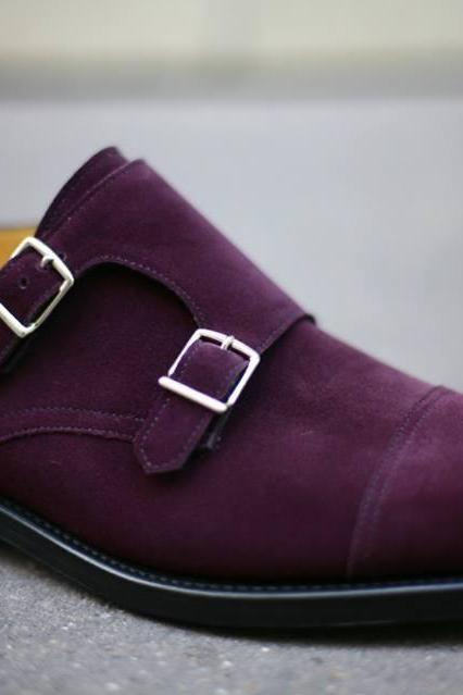 Purple Monk Double Buckle Straps Cap Toe Suede Genuine Leather Shoes For Men