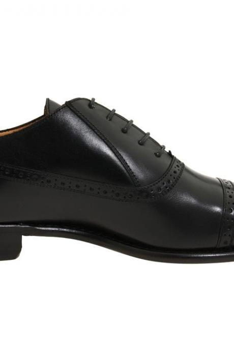 Hand Crafted Black Cap Toe Pointed Plain Tip Oxford Laceup Genuine Leather Shoes