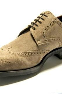 Men Beige Color Wing Tip Full Brogues Laceup Oxford Suede Real Leather Shoes