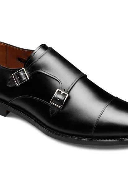 Men Black Cap Toe Double Buckle Straps Monk Elegant Genuine Leather Shoes