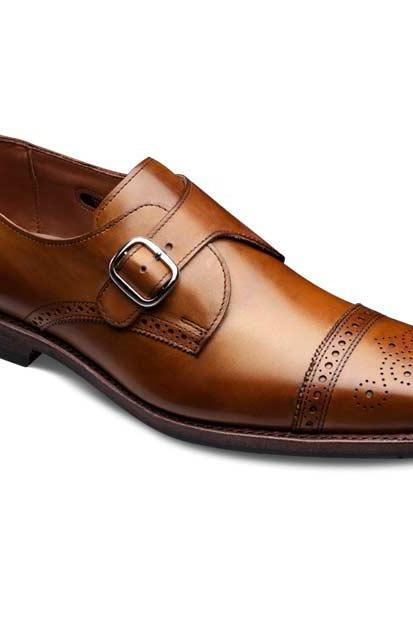 Customized Men Brown Cap Toe Brogues Buckle Strap Monk Genuine Leather Shoes
