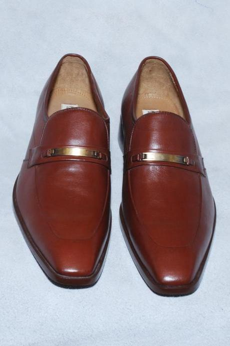 Handmade Brown Casual Pointed Toe Genuine Leather Dress Loafers For Men
