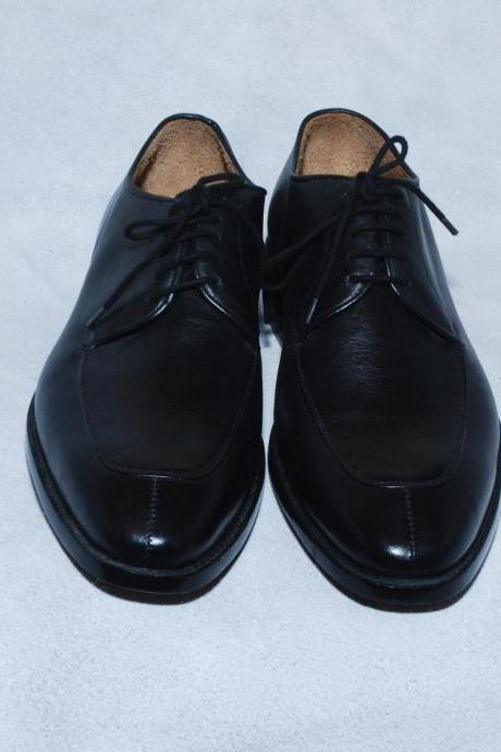 Black Split Toe Plain Tip Lace up Derby Genuine Leather Shoes For Men