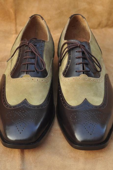 Two Tone Color Oxford Brown Brogue Suede Finished Genuine Leather Shoes for Men