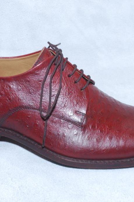 Red Buffalo Leather Derby Laceup Plian Toe Formal Genuine Leather Shoes For Men