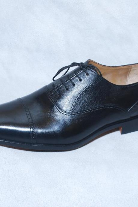Handmade Men Black Cap Toe Plain Tip Lace up Oxford Genuine Leather Shoes