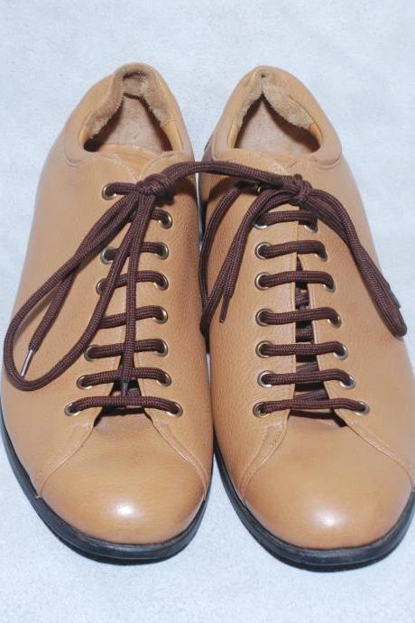 Light Brown Plain Toe Black Laces & Sole Derby Genuine Pure Leather Shoe For Men