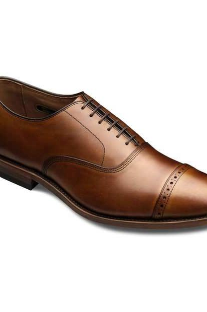 Handmade Men Brown Plain Tip Cap Toe Oxford Real Genuine Leather Shoes