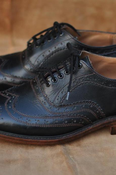 Black Wing Tip Full Brogues Lace up Oxford Real Leather Shoes With Brown Sole