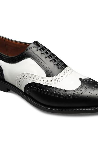 Two Tone Men White & Black Wing Tip Brogues Toe Oxford Pure Leather Lace up Shoes