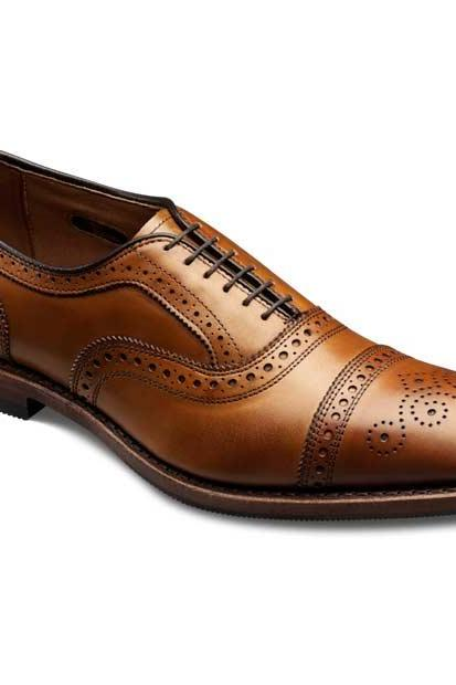 Brown Cap Toe Brogues Lace up Oxford Genuine Pure Leather Shoes For Men