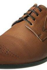 Burnished Brogues Toe Two Tone Brown Real Leather Lace Up Shoes with Black Sole