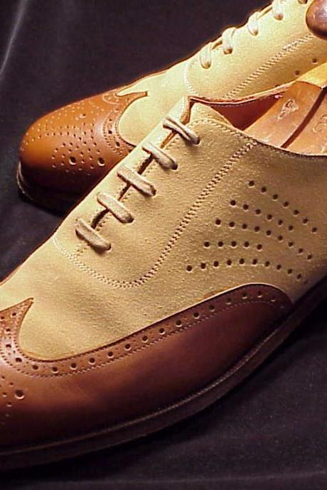 Men Brown Suede Wing Tip Brogue Cap Toe Oxford Genuine Leather Lace up Shoes
