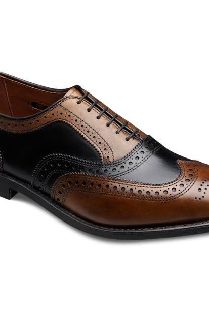 Two Tone Men Black & Brown Brogues Toe Wing Tip Oxford Pure Leather Lace up Shoes