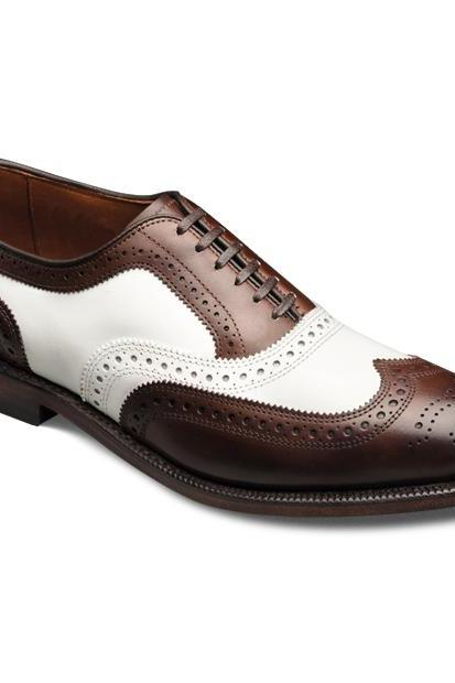 Men Burnished Brown & White Wing Tip Full Brogues Lace up Oxford Leather Shoes
