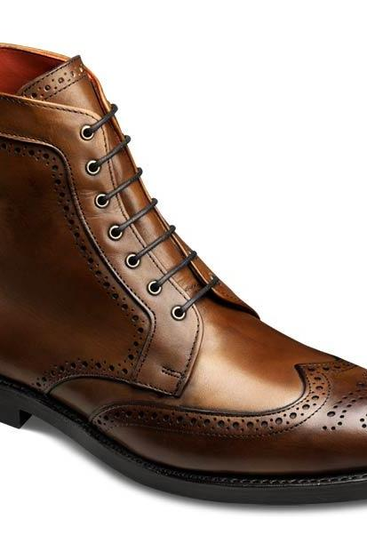 Men Brown High Ankle Wing Tip Brogues Toe Lace up Derby Leather Chukka Boots
