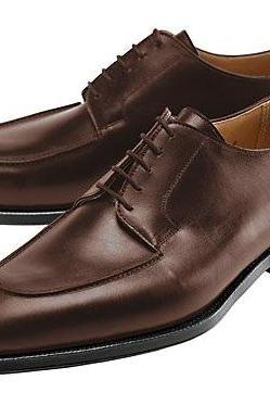 Handmade Men Dark Brown Split Toe Plain Tip Lace up Derby Genuine Leather Shoes