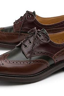 Men Burnished Black & Brown Brogue Toe Wing Tip Derby Real Leather Lace up Shoes