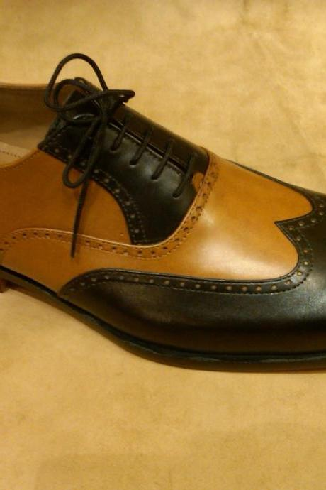 Two Tone Black & Brown Men Wing Tip Brogue Toe Oxford Pure Genuine Leather Shoes