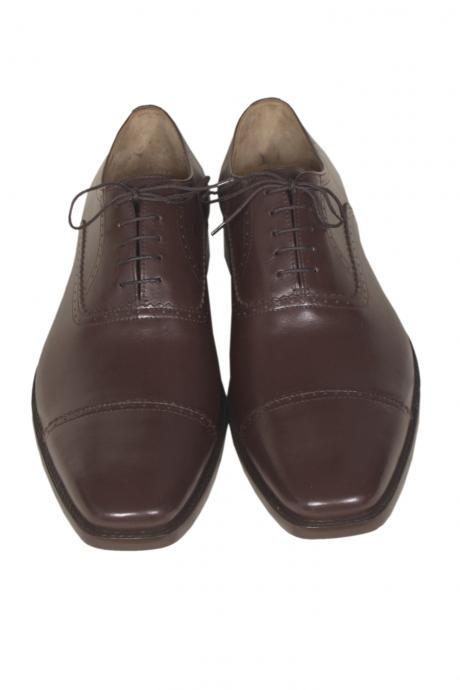 Handmade Men Brown Cap Toe Plain Tip Oxford Pure Genuine Leather Lace up Shoes