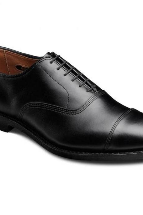 Oxford Leather Lace Up Shoes Stylish Black Color Handmade Cap Toe Formal Dress