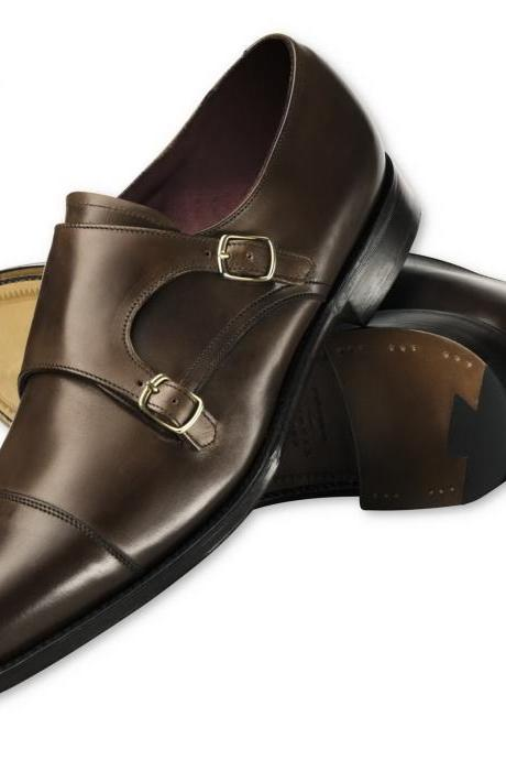 Chocolate Brown Men Plain Tip Toe Cap Double Buckle Strap Monk Pure Leather Shoes